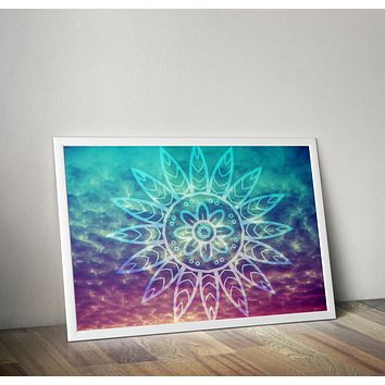 Reiki Charged Sunset Poster Bohemian Art Print Poster With Blue and White  Design no frame 20x30 Large