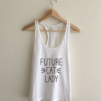 Future Cat Lady Whiskers  Racerback Tank Top