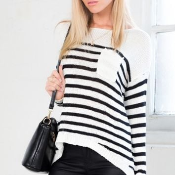 Common Thread knit in white black stripe
