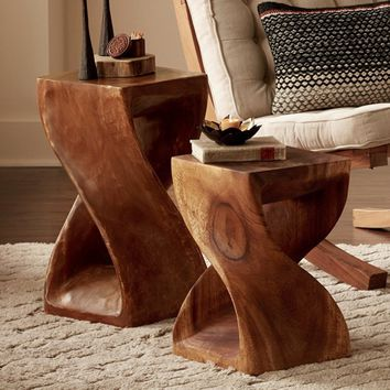 Handcarved Twisty Stool Collection | VivaTerra