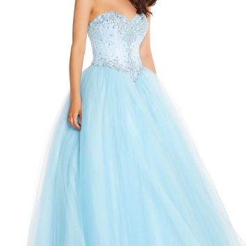 Alyce 60201 Blue Beaded Ball Gown with Drop Waist