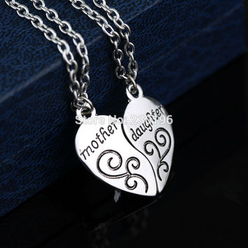 Heart Mother Daughter Charm Pendant Necklaces