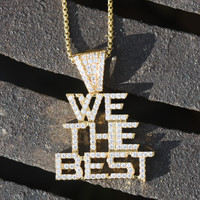 We The Best Music Group Pendant Iced Out 14K Gold Finish Lab Diamonds Steel Back