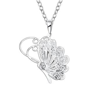 Hollow Butterfly Flying Wings Pendant Necklace