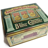 English Vintage 'Public Benefit Boot Company' Tin . Tin Box, Public Benefit Boot Co, Teal and Gold, Vintage Ads, Hinged Tin, Old Tin