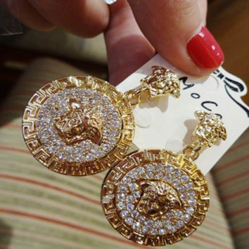 VERSACE Earrings Womens Fashion Trending Round Medusa Head Temperament Jewelry