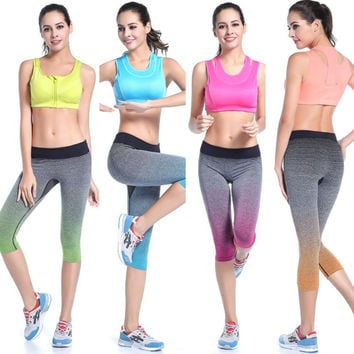 Brand Women Yoga Capris Sports Leggings Fitness Running Gym Legging High Elastic Slim Pants Stretch Workout Pants