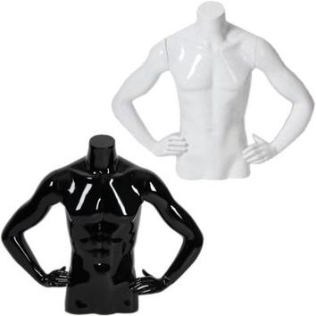 AFD-024 Glossy Freestanding Male Half Torso Table Top Form with Arms at Waist