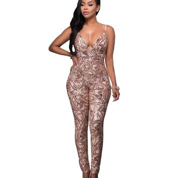 Sequin Romper 2017 Summer Style Sexy Spaghetti Strap Women's Deep V Neck Backless Jumpsuits Party Club Women Bodycon Playsuit