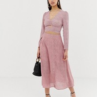 Fashion Union wrap front blouse & skirt two-piece | ASOS