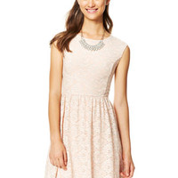 Foiled Lace Cap Sleeve Dress - Blush
