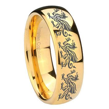 10MM Dome Multiple Dragon 14K Gold IP Shiny Tungsten Carbide Men's Ring