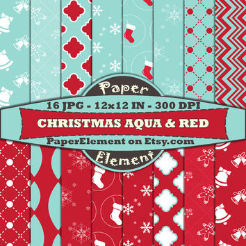Holiday Digital Paper in Red and Aqua Instant Download Chistmas Paper Backgrounds for Scrapbooking