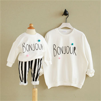 matching mother daughter clothes new autumn cartoon Family Look Girl Clothes Outfits Mom And Daughter sweatshirt family clothing