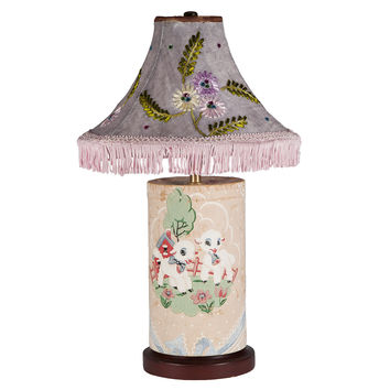 Vintage Pastel Lamb Canister Lamp with Vintage Shade