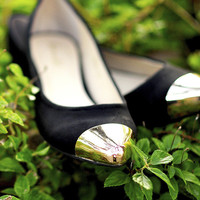 Tip Toe In Style Flats: Black/Gold | Hope's