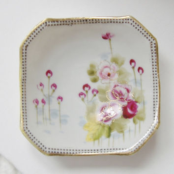 Vintage china candy dish | Hand painted | 1940s made in Japan | cerise maroon fuchsia flowers | Asian floral design | Valentine