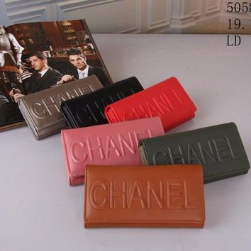 Best Online Sale Fashion Chanel 6 Color Contain Pink , Silver , Black  , Red , Brown , Army Green Flap Wallet - 5850