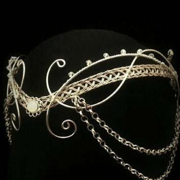 medieval moonstone Hobbit Arwen headdress silver elven tiara circlet with Swarovski elements