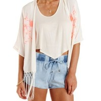 Ivory Combo Embroidered Fringe Kimono by Charlotte Russe