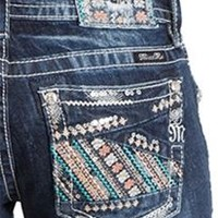 Miss Me Bootcut Jeans with Floral Patchwork Pockets JP8336B-MK416