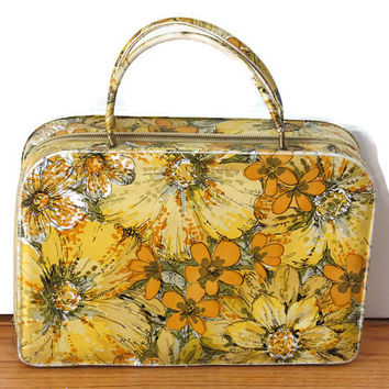 Vintage Mid Century Purse, Flower Power Vinyl Tote withe Brass Zipper, Travel Tote, Vinyl Purse, Midcentury Travel Bag