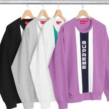 Supreme Vertical Logo Panel Crewneck Sweater Pullover Sweatshirt