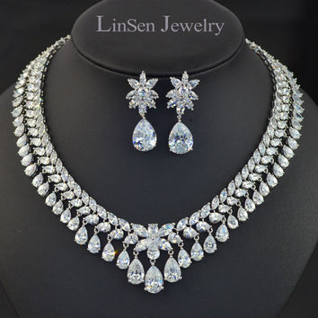 AAA Cubic Zirconia luxury wedding bridal jewelry sets,high quality zircon necklace earring sets for bride