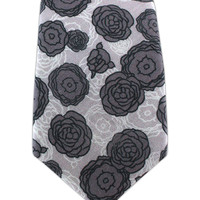Camellia - Charcoal/Light Silver (Linen Skinny) from TheTieBar.com - Wear Your Good Tie Everyday