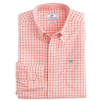 Precheck Plaid Intercoastal Performance Shirt in Melon by Southern Tide