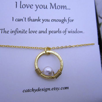 Christmas gift for mother-Pearl in circle,New Mother,pregnancy,pearl necklace,karma circle,circle of life,Pea in pod,Eternity,gift to mom