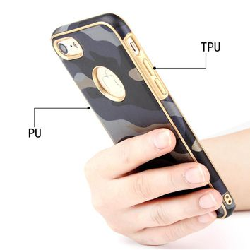 Case for iPhone 6 6s 6Plus 6s Plus 2in1 Hybrid PU+TPU Army Camo Camouflage Anti-knock Phone Cover work with magnetic holder