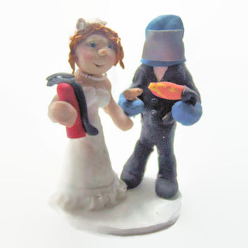 Welder and Bride Wedding Cake topper - Polymer clay -Career CakeTopper