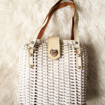 Vintage White Wicker Handbag
