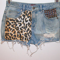 Leopard print studded denim shorts