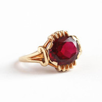 Created Ruby Ring - Vintage 10k Rosy Yellow Gold Red Lab Gemstone Fine Jewelry - Retro 1960s Mid Century Size 6 1/4 Red July Birthstone