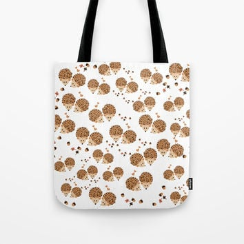 Hedgehogs in autumn Tote Bag by VanessaGF