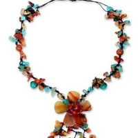 NOVICA Orange Agate and Carnelian Y-necklace with Loop-Button Closure, 'Summer Flower'