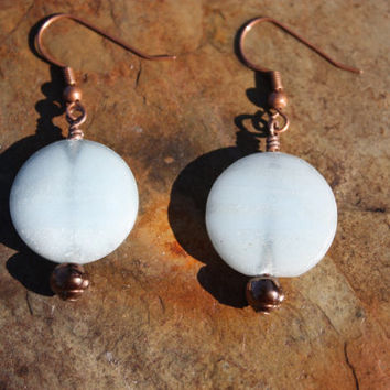 Blue Calcite and Copper Earrings for Serenity, Healing, Intuition, and Connection to Spirit