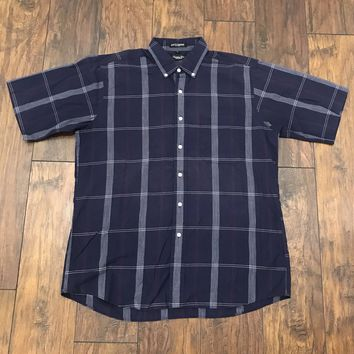 Christian Dior Monsieur Christian Dior Monsieur Navy Blue Check Button Down Shirt Menswear Mens Size L Large Size L $50