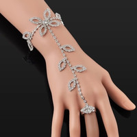 Sparkly Leaf Crystals Hand Chain Bracelet-Ring