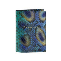 Passport Holder  Peacock Embossed Python Leather