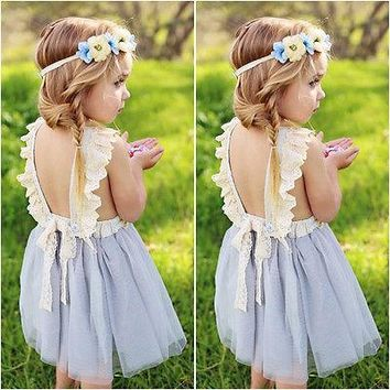 Princess Girls Summer Dress 2017 Sleeveless Backless Back Bow Tutu Ball Gown Lace Party Dresses Children Sundress 2-7Y