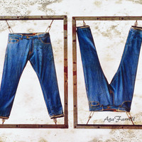 Fashion Art, Industrial Art, Navy Blue, Quirky Home Decor, Blue Jeans, Urban Art, Large Wall Decor, Brown