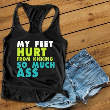 My feet hurt Women's Ideal Racerback Tank