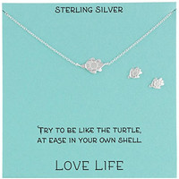 Sterling Silver Turtle Necklace and Earrings Jewelry Set, 18""