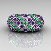 Modern Antique 10K White Gold 0.58 CTW Round Amethyst Emerald Designer Cocktail Ring R126-10WGAMEM