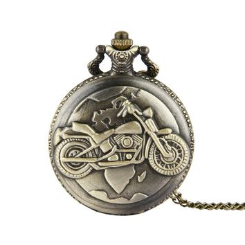 Cool Stylish Quartz Pocket Watch Moto Motorcycle Motorbike Mens Watches Steampunk Necklace Pendant Clock Gift
