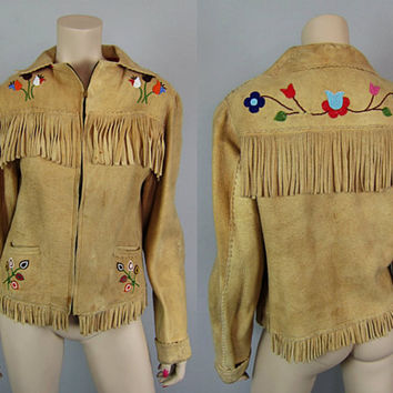 Vintage 30s Antique Native American Buckskin Beaded Fringe Jacket Chamois Deerskin Leather Cree Floral Indian - Well Worn Distressed