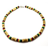 Sigid Tube and Coco Bead Rasta Necklace, Lobster Lock